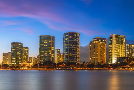 cityscape of honolulu in oahu island, hawaii, us