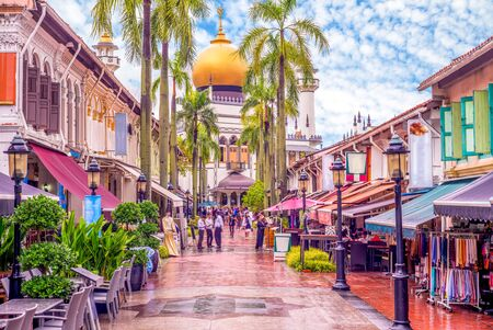 street view of singapore with Masjid Sultan Imagens