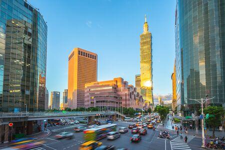 Xinyi District and Taipei 101 Skyscraper Stock fotó - 129295658