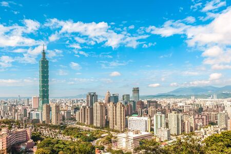 Panoramic view of Taipei City, taiwan Imagens