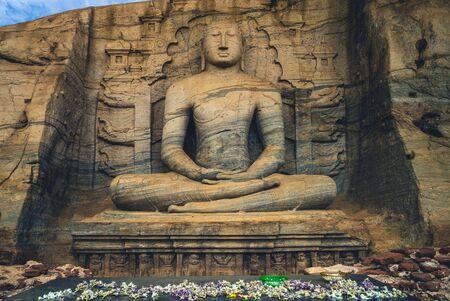 seated Buddha statue, Gal Vihara, Polonnaruwa, sri lanka