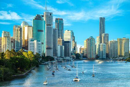 Horizon de Brisbane, capitale du Queensland, Australie Banque d'images