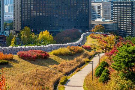 Namsan City Wall and park at seoul, south korea