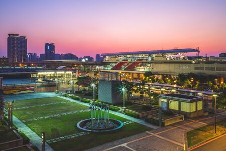 Taoyuan HSR station of metro in taiwan at night