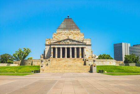 Melbourne, Australia - January 1, 2019: Shrine of Remembrance that is built to honour the men and women of Victoria who served in World War I Editorial