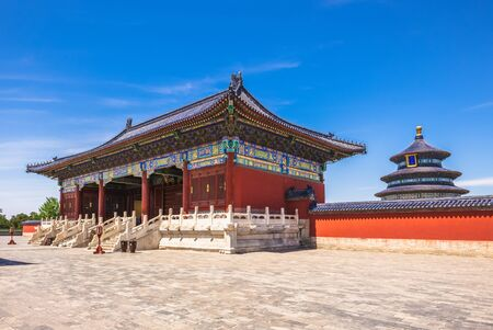 Temple of Heaven, the landmark of beijing, china. the chinese characters mean Hall of Prayer for Good Harvests 新聞圖片