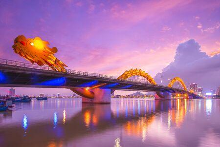 Dragon Bridge in Da Nang, vietnam at night Фото со стока