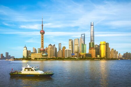 Skyline of Pudong by Huangpu River in Shanghai, China