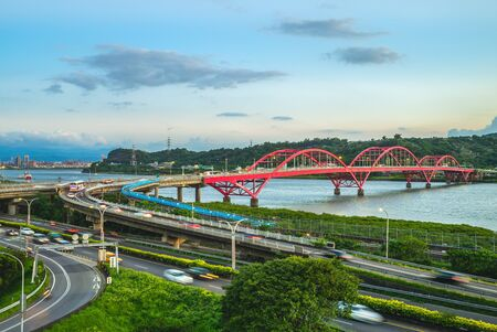 scenery of new taipei city by the Tamsui River