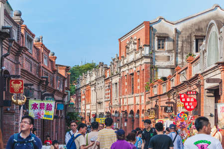 New Taipei, Taiwan - April 3, 2015: Sanxia Old Street, located at the confluence of three rivers, so the meaning of