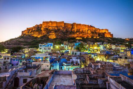 night view of jodhpur and mehrangarh fort in india Imagens