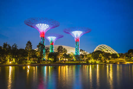 Singapore, Singapore - February 6, 2020: Scenery of Gardens by the Bay with Flower Dome, Cloud Forest, and Supertree Grove at the marina bay at night 에디토리얼