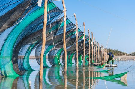 eel traps in the middle of the river in Miaoli, taiwan
