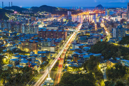 Cityscape of keelung city and harbor in taiwan Stock Photo