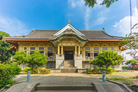 Wude hall, aka Bushido Hall, in Tainan, taiwan. the translation of the chinese text is Auditorium Hall Stock Photo