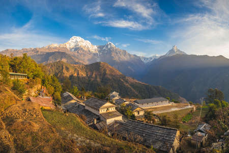 scenery of ghandruk village near pokhara in nepal