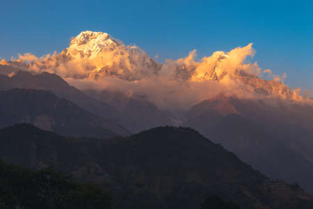 scenery of Annapurna Massif in nepal at dusk