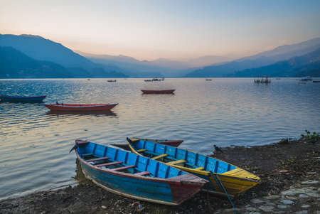 Scenery of Fewa Lake in Pokhara, Nepal at dusk