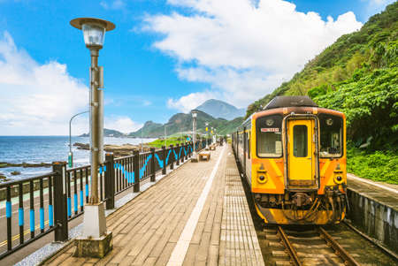 Scenery of Badouzi railway station in keelung city, taiwan 版權商用圖片