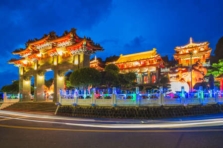 night scene of Wen Wu Temple in Nantou. Translation: wen wu temple, 版權商用圖片