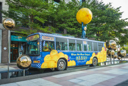 November 1, 2020: The moon bus located near taipei 101 building in xinyi district of taipei city, taiwan. It was based on Taiwanese illustrator Jimmy liao storybooks When the Moon Forgot.
