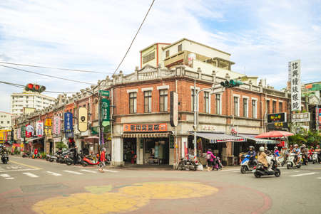 December 20, 2020: Taiping old street, the main commercial area of Douliu City in Yunlin, Taiwan. It is called the century old street, and features Baroque style as its main architectural feature.
