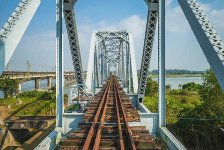 Historical Iron Bridge across the KaoPing River at Kaohsiung city, taiwan