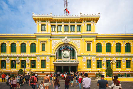 December 30, 2016: Saigon Central Post Office. It was constructed when Vietnam was part of French Indochina in the late 19th century and located in the downtown Ho Chi minh city, vietnam. Editorial