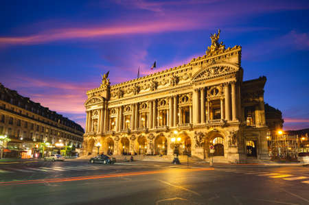 Night view of the Palais Garnier, Opera in Paris, france