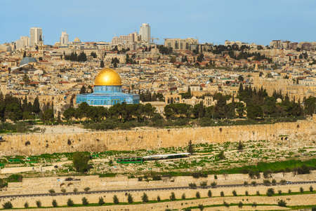 dome of the rock and old city of jerusalem in israel