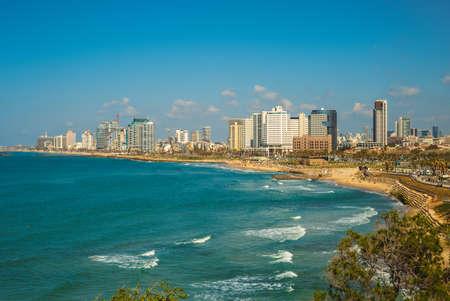 scenery of Tel Aviv beach along the Mediterranean in Israel