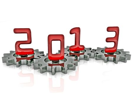 Happy New Year 2013 in Chrome and Red Stock Photo