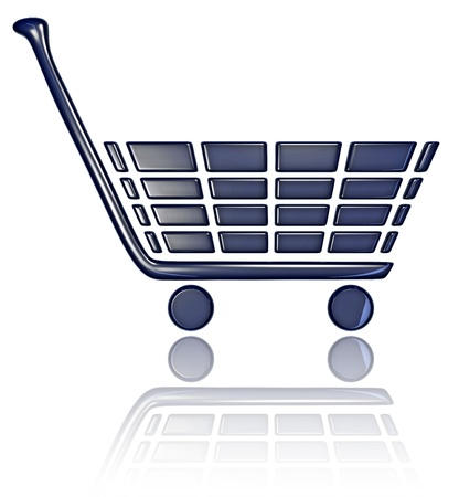 A 3D Shopping Cart with Reflection Stock Photo