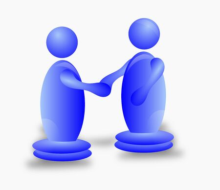 3D Characters Shaking Hands Stock Photo