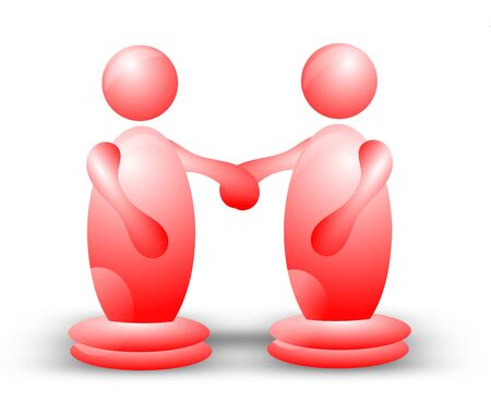Two spherical 3D characters standing side by side and holding hands Stock Photo