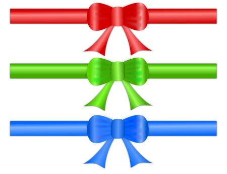 A set of three festive gift ribbon bows in shiny satin like material, for page headers and footers