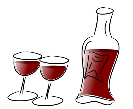 Red Wine Glasses and Bottle Stock Photo