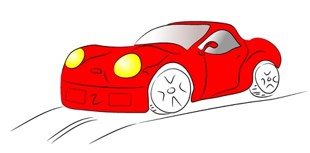 A freehand line art sketch of a red sports car