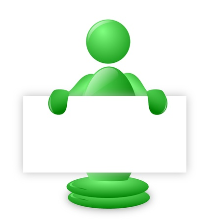A green 3d character holding a blank poster board with space to put a message or announcement Stock Photo