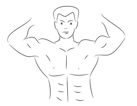 Lineart sketch of a muscular bodybuilder showing his flexed upper body and torso