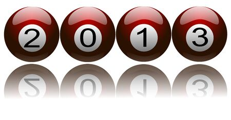 Illustration of New Year 2013 with digits on pool balls Stock Photo