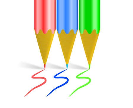 An illustration of RBG color scheme with three shiny pencil crayons
