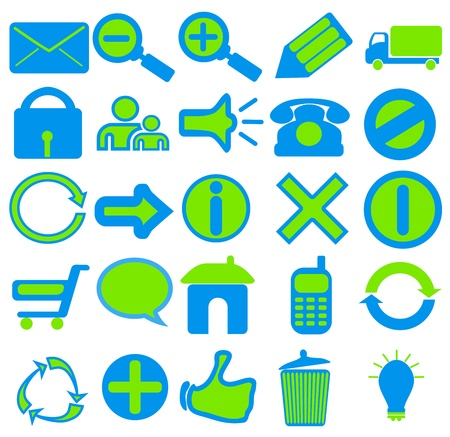 A collection of 25 web icons in blue and green colors Stock Photo