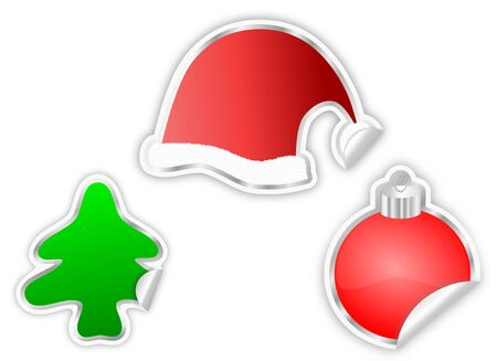 A collection of three christmas special stickers - christmas tree, santa s cap and ornamental decoration ball Stock Photo - 17045670