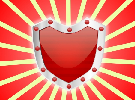 A red studded shiny red shield with silver frame Stock Photo