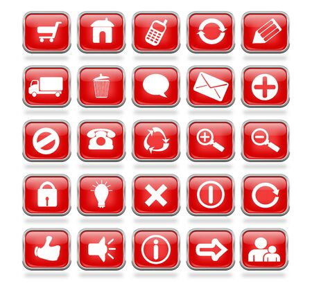 A collection of 25 red shiny mettalic web icon buttons