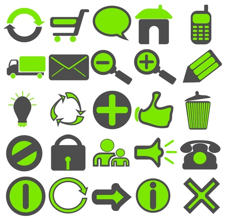 A collection of 25 web icons in green and grey color combination