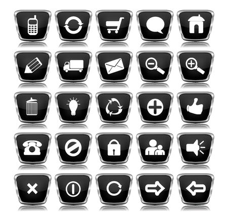 A collection of 25 black shiny mettalic web icon buttons with reflections Stock Photo