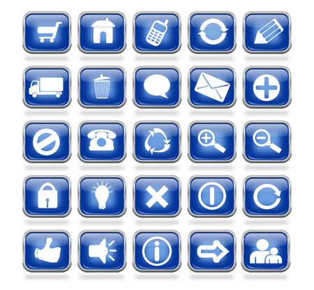 A collection of 25 blue shiny mettalic web icon buttons Stock Photo - 17048827