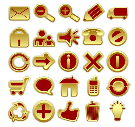 A collection of 25 web icons in golden and red color scheme